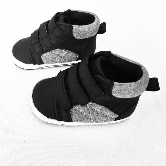 Black & Grey 3 Strap Infant High Tops Sneakers